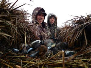 Me and my son Griff, 20, together again in the blind.