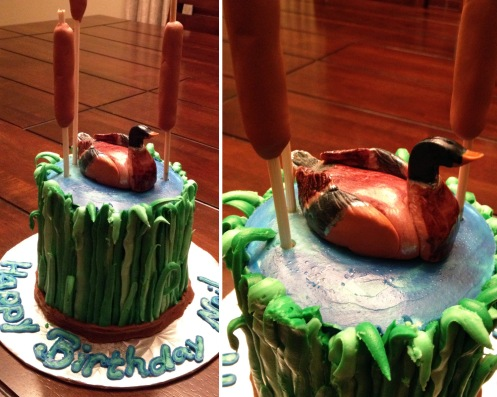 My girlfriend Danielle challenged a local bakery to make her duck hunting boyfriend the perfect little cake. They definitely succeeded!