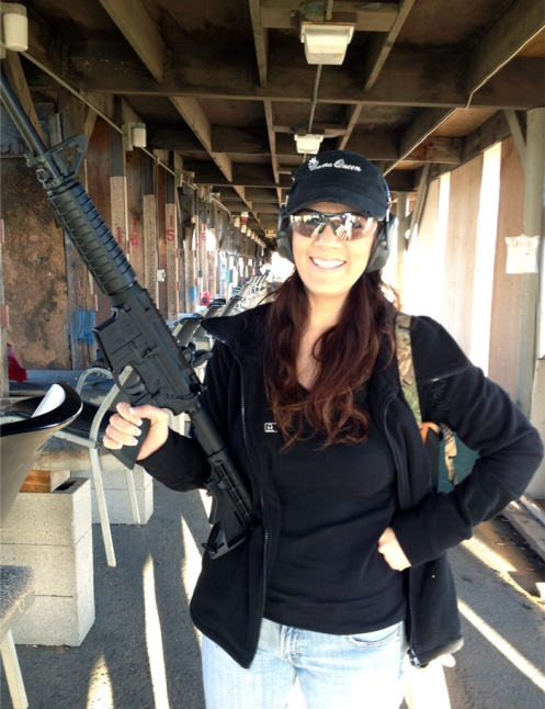 Danielle and our new black gun.