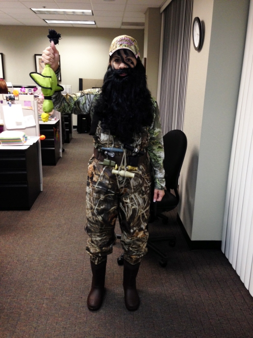 Danielle dressed up for a Halloween party at work