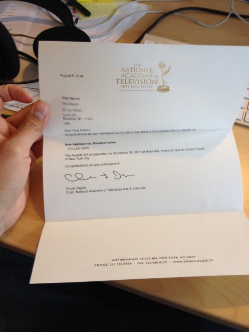 Gray's Emmy nomination letter